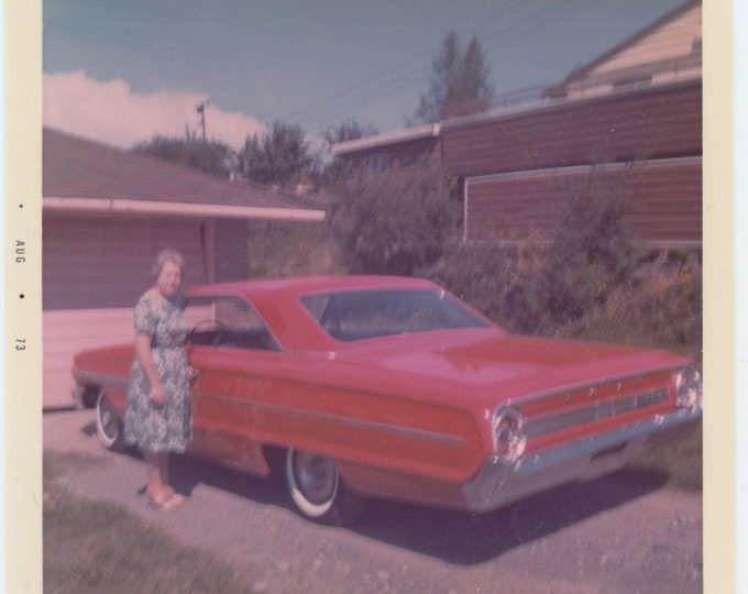 Vintage Snapshot Photo: Woman with Red c'64 Ford Galaxie, 1973 (68494)