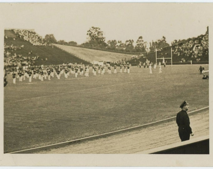 Band on School Football Field, Cop, 1930s-40s Vintage Photo Snapshot [64453]