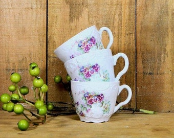Three Little Antique Child's Teacups Pansies
