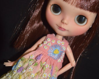 Dress hand dyed and embroidery handmade for Neo Blythe doll