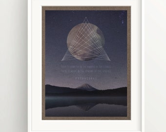 """Pythagoras Sacred Geometry Print - """"Humming in the strings..."""" Quote - stars over lake - Meditation - Spirituality"""