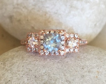 Aquamarine Rose Gold Ring- Anniversary Ring- Engagement Ring- Promise Ring for Her- Bridal Ring- Wedding Ring- Art Deco Ring- 3 Stone Ring