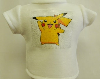 POKEMON Pikachu Theme Silver Glitter Transfer T-Shirt For 16 or 18 Inch Dolls Like The American Girl Or Bitty Baby