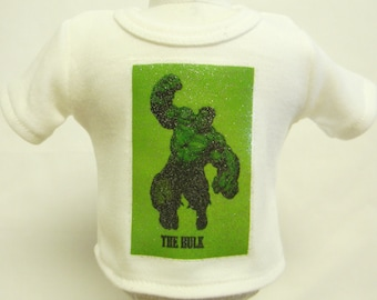 The Hulk Theme Silver Glitter Transfer T-Shirt For 16 or 18 Inch Dolls Like The American Girl Or Bitty Baby