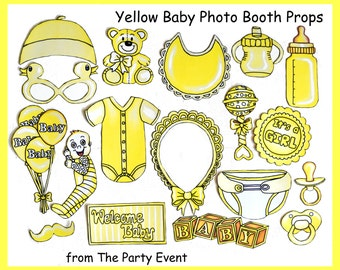 READY MADE Baby girl/ boy photo booth props in yellow - perfect for a baby shower or a welcome party for your bundle of joy. It's a girl/boy