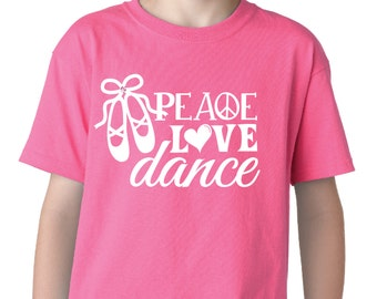 Peace, Love, Dance Kids T-Shirt, with FREE Hair Bow!