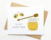 Honey Bee Valentine's Day Pun Kawaii Cute Card