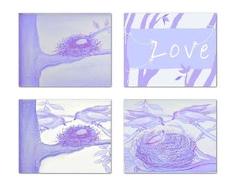 Baby Nursery Art, Birds, Nursery Prints, Lavender, Purple, Nursery Wall Art, Nursery Decor, Birds Family, Love, Bird Nest, Kids Nursery Art