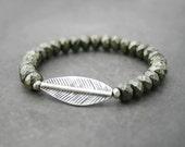 Beaded Stretch Bracelet, Yoga Bracelet, Stacking Bracelet, Pyrite with Thai Silver, Pyrite Leaf Bracelet