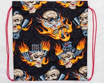 Hot rod engine skulls drawstring backpack cinch bag