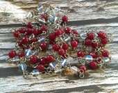 Super Long Red Garnet and Opalite Rosary Style Wrap Necklace