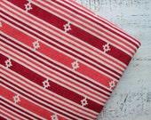 Vintage cotton fabric 2.24 yards Soviet white red stripes geometric