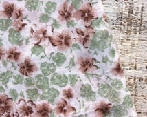 Vintage batiste cotton fabric 3.2 yards in 1 listing Soviet brown green white flowers boho fabric