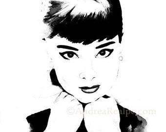 15% Off Sale, Audrey Hepburn Painting, Watercolor, Celebrity Portrait, Audrey Hepburn, Fashion Illustration, Giclee Print