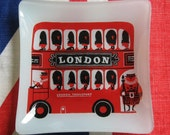 Kenneth Townsend London Bus, Glass Dish, Sights of London, Chance Glass, Trinket Dish, 1970's London Souvenir