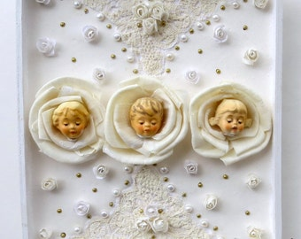 Mixed Media Antique Doll Rose Flower Heads, Lace and Pearl Shabby Shadowbox Assemblage Wall Plaque