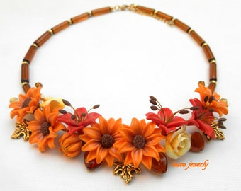 Fall Necklace Autumn Necklace Fall Jewelry Leaf Necklace Chunky Necklace Thanksgiving Statement Necklace Fall Leaves Floral Necklace