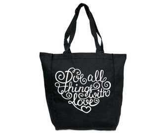 Do All Things With Love // Casual Cotton Canvas Tote