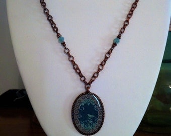 Copper and Blue Bird Necklace