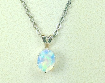White Ethiopian Opal Necklace October Birthstone Handmade Jewellery by NorthCoastCottage Jewelry Design & Vintage Treasures