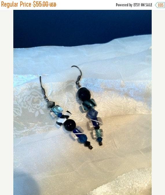 20% SALE Vintage 1980s Crazy Asymmetric Glass Earrings
