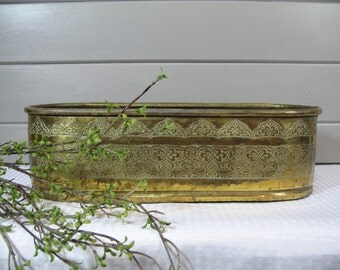 Large Brass Copper Planter, Brass Planter, Rustic, Country, Cottage Chic, Flower Box