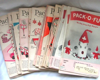 1960's Pack-o-Fun Scrap Craft Magazines lot of 19 idea books from the 60's Christmas Halloween thanksgiving summer camp
