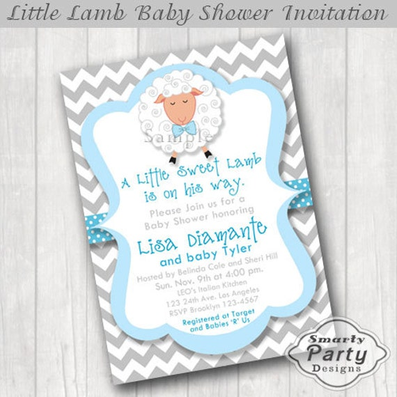 lamb baby shower invitations invite printable personalized chevron bow