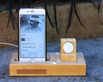 iPhone  & Apple Watch Docking Station, the CONCERT Tandem dock in MAPLE.