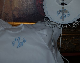 Classic Cotton Baby Romper And Bib For a Boy or Girl for Baby's Christening, Dedication, or Sunday Church