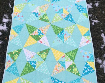 Sea buddies kaleidoscope baby quilt
