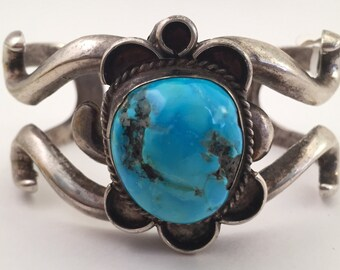 SALE Vintage 3 oz Sterling Natural Unfilled Turquoise Sandcast Cuff