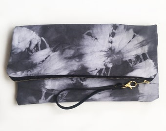 003//black//XL hand-dyed canvas clutch with genuine leather wrist strap