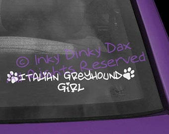 Italian Greyhound Girl Vinyl Decal