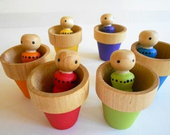 Wood peg doll caterpillar garden pot color matching learning toy montessori color game wooden garden bug worm toy