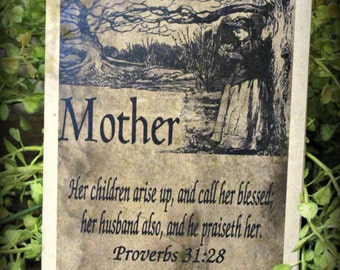 Mother Proverb Verse Happy Birthday Greeting Card - FREE SHIPPING