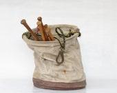 Vintage Canvas and Leather Linesman Tote - Vintage Laborers Canvas Bag - Vintage Storage - Hanging Boathouse Bag