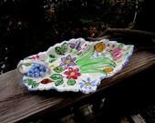 blue ridge southern potteries floral leaf design celery/relish tray