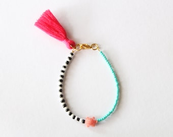 Pink Coral Turtle Bracelet - Friendship Layered Black and White Turquoise Mint Beads - Magenta Tassel Charm Bracelet