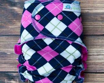 "Cozy Serged Hybrid Fitted Cloth Diaper- ""Preppy"""