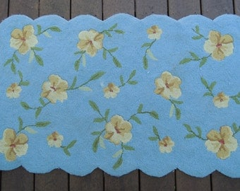 SALE - Hooked Rug, Handmade, Scalloped edge, Muted yellow and brown floral design, Beautiful condition, Vintage