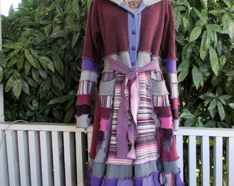 Sweater coat - gypsy sweater coat - recycled sweaters - recycled sweater coat - festival coat - wool coat - handmade sweater coat