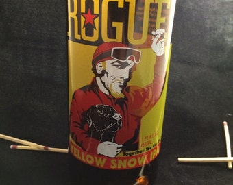 Custom Soy Upcycled Beer Bottle Container Candle-ROGUE BREWING Yellow Snow IPA