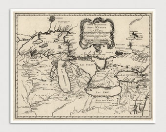 Old Great Lakes Map Art Print 1755 Antique Map Archival Reproduction
