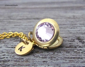 Personalized June Birthstone Swarovski Locket Necklace, Hand Stamped Initial Swarovski Cab Light Amethyst Tiny Gold Locket Necklace