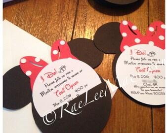 20 Mickey and Minnie Mouse Custom Bridal Shower or Wedding Invitations-disney wedding/disney bridal shower/