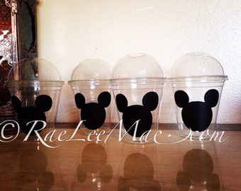 10 Mickey Mouse Baby Shower Cups with Dome Lids or Flat Lids with Straws/nautical Birthday/Popcorn cups/Fruit Cups/Drink Cups/minnie mouse