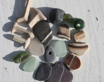 sea glass beach pottery terracotta wishing stones slates beach jewelry supplies home decor art&craft supply (91