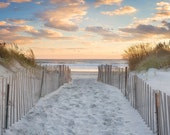 Beach Path Photo, Large Art, Beach Panorama, Rhode Island, Panoramic Photography, Newport RI, Dunes Fence Ocean Sunset Picture Blue Orange