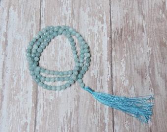 108 Prayer Beads, Aquamarine, Wrist Japa Mala, Chakra Bracelet, Healing Meditation Bracelet, Yoga Bracelet, Om Bracelet, Buddhist Bracelet